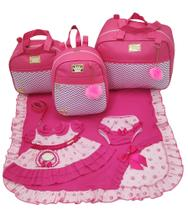 Kit bolsa maternidade 3 peças luxo pink + saida maternidade - Let Baby Bolsas De Maternidade