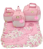 Kit bolsa maternidade 3 peças luxo rosa + saida maternidade - Let Baby Bolsas De Maternidade