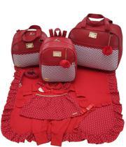 Kit bolsa maternidade 3 peças luxo vermelho + saida maternidade - Let Baby Bolsas De Maternidade