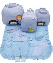 Kit bolsa maternidade 3 peças safari azul + saida maternidade - Let Baby Bolsas De Maternidade