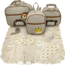 Kit bolsa maternidade 3 peças safari bege + saida maternidade - Let Baby Bolsas De Maternidade