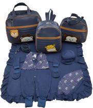 Kit bolsa maternidade 3 peças safari marinho + saida maternidade - LET BABY BOLSAS DE MATERNIDADE