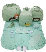 Kit bolsa maternidade 3 peças safari verde + saida maternidade - Let Baby Bolsas De Maternidade