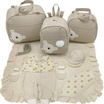 Kit bolsa maternidade 3 peças urso bege + saida maternidade - LET BABY BOLSAS DE MATERNIDADE