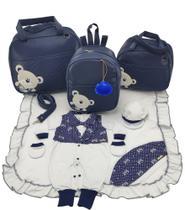 Kit bolsa maternidade 3 peças urso marinho + saida maternidade - Let Baby Bolsas De Maternidade
