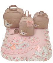 Kit bolsa maternidade 3 peças urso nude + saida maternidade - Let Baby Bolsas De Maternidade