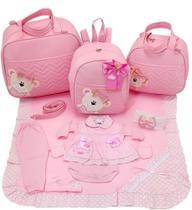 Kit bolsa maternidade 3 peças urso rosa + saida maternidade - Let Baby Bolsa de Maternidade