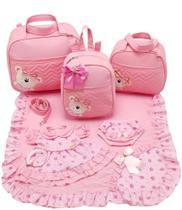 Kit bolsa maternidade 3 peças urso rosa + saida maternidade - Let Baby Bolsas De Maternidade