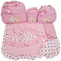 Kit Bolsa Maternidade 4pcs Urso + Saída Rosa vestido Menina - Império Dos Bebès