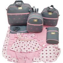 Kit bolsa maternidade 5 p estrela cinza c/ rosa + saida maternidade - Let Baby Bolsas De Maternidade