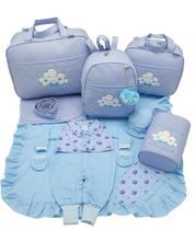 Kit bolsa maternidade 5 p nuvem azul + saida maternidade - LET BABY BOLSAS DE MATERNIDADE