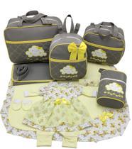 Kit bolsa maternidade 5 p nuvem cinza c/ amarelo + saida maternidade - Let Baby Bolsas De Maternidade