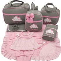 Kit bolsa maternidade 5 p nuvem cinza c/ rosa + saida maternidade - Let Baby Bolsas De Maternidade
