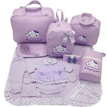 Kit bolsa maternidade 5 p nuvem lilas + saida maternidade - Let Baby Bolsas De Maternidade