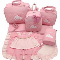 Kit bolsa maternidade 5 p nuvem rosa + saida maternidade - Let Baby Bolsas De Maternidade