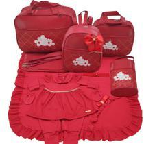 Kit bolsa maternidade 5 p nuvem vermelho + saida maternidade macacão menina - Let Baby Bolsas De Maternidade