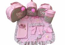 Kit Bolsa Maternidade 5 Peças Completo Elefantinha Térmica Rosa Bebê Com Saída Maternidade - Elyã Baby