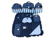Kit Bolsa Maternidade 5 Peças Completo Listrado Com Saída Maternidade Azul Marinho - Elyã Baby