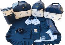 Kit Bolsa Maternidade 5 Peças Completo Marinheiro Térmica Azul Marinho Com Saída Maternidade - Elyã Baby