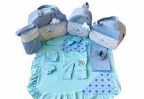 Kit Bolsa Maternidade 5 Peças Completo Nuvem Chuva de Benção Térmica Com Saída Maternidade Azul Bebê - Elyã Baby