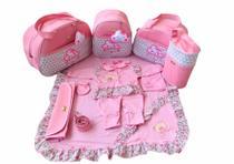 Kit Bolsa Maternidade 5 Peças Completo Nuvem Chuva de Benção Térmica Rosa Bebê Com Saída Maternidade - Elyã Baby