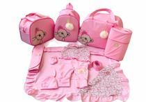 Kit Bolsa Maternidade 5 Peças Completo Ursa Laço Com Saída Maternidade Rosa Bebê - Elyã Baby