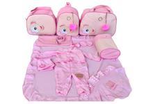 Kit Bolsa Maternidade 5 Peças Completo Ursa Orelhinha Listrada Térmica Rosa Bebê - Elyã Baby