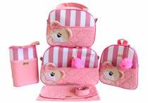 Kit Bolsa Maternidade 5 Peças Completo Ursa Orelhinha Listrado Térmica Rosa Bebê - Elyã Baby