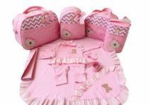 Kit Bolsa Maternidade 5 Peças Completo Ursa Princesa Térmica Rosa Bebê Com Saída Maternidade - Elyã Baby