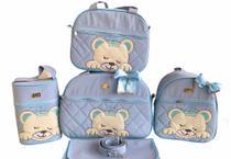 Kit Bolsa Maternidade 5 Peças Completo Urso Dormindo Térmica Azul Bebê - Elyã Baby