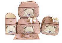 Kit Bolsa Maternidade 5 Peças Completo Urso Dormindo Térmica Nude Unissex - Elyã Baby