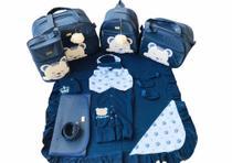 Kit Bolsa Maternidade 5 Peças Completo Urso Dormindo Térmico Com Saída Maternidade Azul Marinho - Elyã Baby