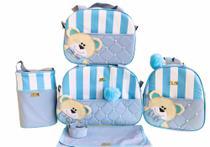 Kit Bolsa Maternidade 5 Peças Completo  Urso Orelhinha Listrado Térmica  Azul Bebê - Elyã Baby