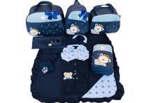 Kit Bolsa Maternidade 5 Peças Completo Urso Príncipe Térmica Azul Marinho Com Saída Maternidade - Elyã Baby