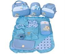 Kit Bolsa Maternidade 5 Peças Completo Urso Príncipe Térmica Com Saída Maternidade Azul Bebê - Elyã Baby