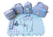 Kit Bolsa Maternidade 5 Peças Completo Urso Térmica Azul Bebê Com Saída Maternidade - Elyã Baby
