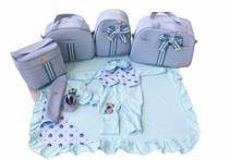 Kit Bolsa Maternidade 5 Peças Frasqueira Laço Térmica Com Saída Maternidade Azul Bebê - Elyã Baby