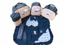 Kit Bolsa Maternidade 5 Peças Nuvem Chuva de Benção Térmica Azul Marinho Com Saída Maternidade - Elyã Baby