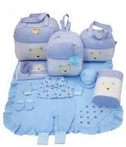 Kit bolsa maternidade 5 peças urso s azul + saída maternidade - Let Baby Bolsas De Maternidade