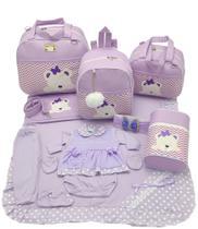 Kit bolsa maternidade 5 peças urso s lilas + saída maternidade - LET BABY BOLSAS DE MATERNIDADE