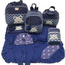 Kit bolsa maternidade 5 peças urso s marinho + saída maternidade - Let Baby Bolsas De Maternidade