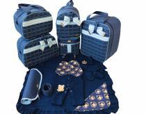 Kit Bolsa Maternidade 6 Peças Jeans Com Saída Maternidade Azul Marinho - Elyã Baby
