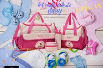 Kit Bolsa Maternidade Bebê Menina Rosa 5 Péças - Baby
