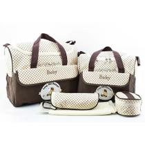 Kit Bolsa Maternidade Bebê Menino E Menina  Marrom 5 Peças - Baby