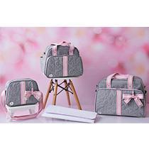 Kit Bolsa Maternidade Cinza Com Rosa IB Luxo -