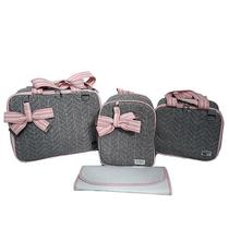 Kit Bolsa Maternidade Cinza Rosa Bebe Quadrada Ello Baby -