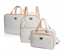 Kit Bolsa maternidade Lollipop Cinza 3 Pçs mala, mochila e bolsa M - Hug -