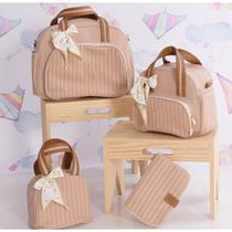 Kit Bolsa Maternidade Mala de Bebê Super Luxo Premium Material Dexter Prime - Térmico Impermeável - Milori Baby