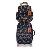 Kit Bolsa maternidade Manhattan Mala de rodinha e Mochila Preta - Masterbag Baby -