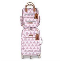 Kit Bolsa maternidade Manhattan Mala de rodinha e Mochila Rosa - Masterbag Baby -